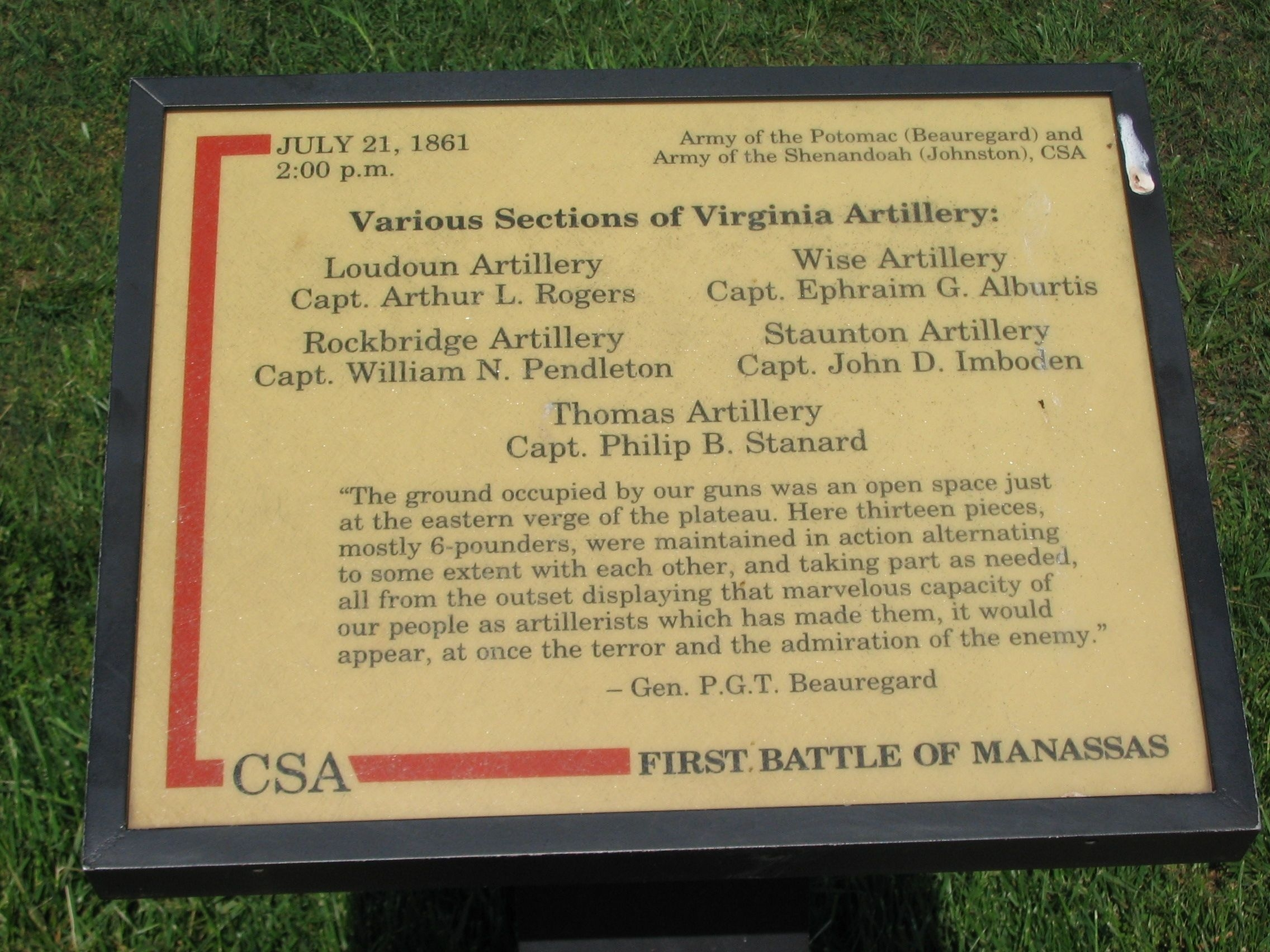 Various Sections of Virginia Artillery Marker