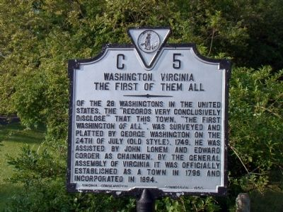 Washington, Virginia Marker image. Click for full size.