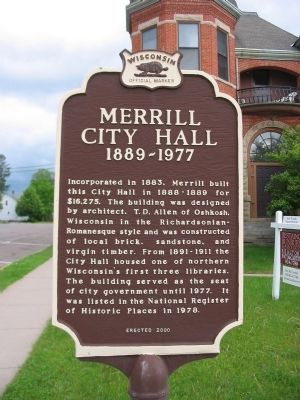 Merrill City Hall Marker image. Click for full size.