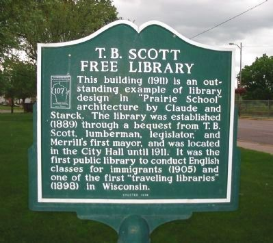 T.B. Scott Free Library Marker image. Click for full size.