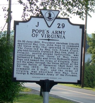Pope's Army of Virginia Marker image. Click for full size.