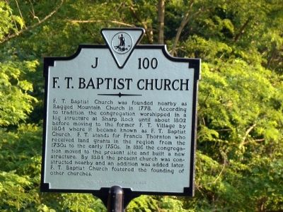 F. T. Baptist Church Marker image. Click for full size.