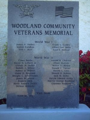Woodland Community Veterans Memorial Marker image. Click for full size.