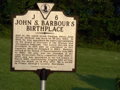 John S. Barbour's Birthplace Marker image. Click for full size.