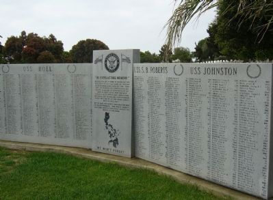 USS Hoel * USS S. B. Roberts * USS Johnston Memorial image. Click for full size.