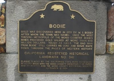 Bodie State Historical Marker image. Click for full size.