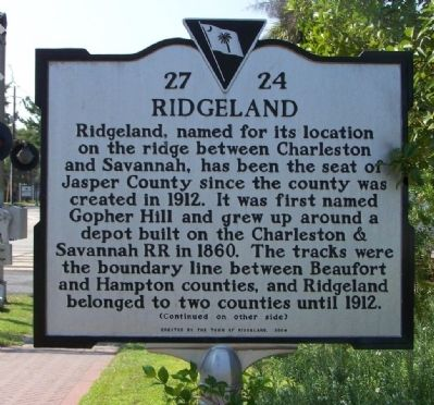 Ridgeland Marker front image. Click for full size.