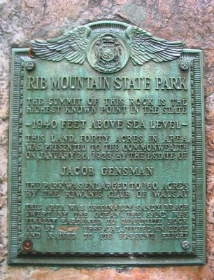 Rib Mountain State Park Marker image. Click for full size.