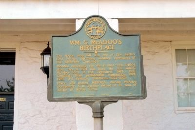 Wm. G. McAdoo's Birthplace Marker image. Click for full size.