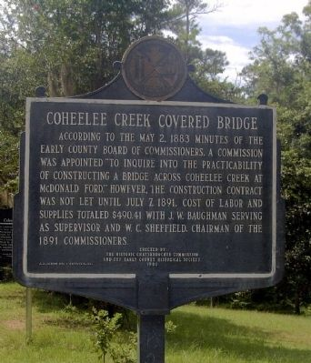 Coheelee Creek Covered Bridge side of marker image. Click for full size.