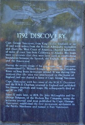 Captain George Vancouver Monument Plaza Marker </b>[Panel 1] image. Click for full size.