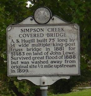 Simpson Creek Covered Bridge Marker image. Click for full size.