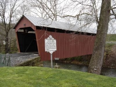 Simpson Creek Covered Bridge and Marker image. Click for full size.