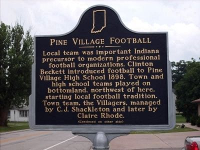 Pine Village Football Marker - Side One image. Click for full size.