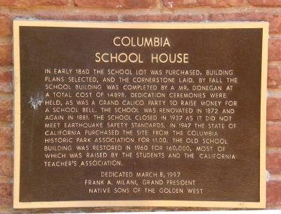 Columbia School House Marker image. Click for full size.