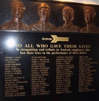 Amtrak Employees Who Gave Their Lives image. Click for full size.