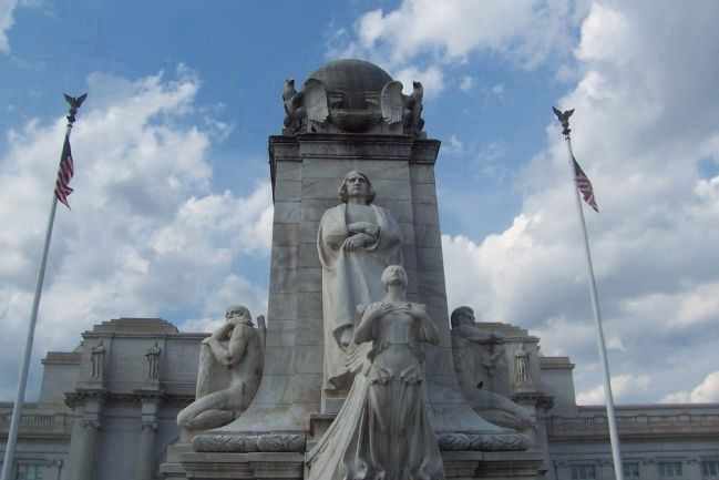 Christopher Columbus Monument, south face - Union Station in rear image. Click for full size.