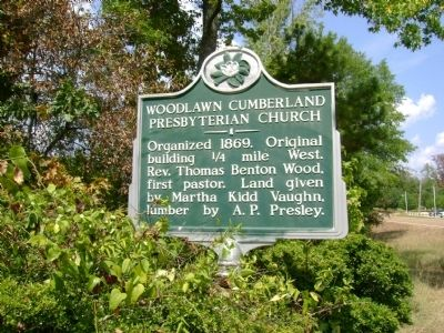 Woodlawn Cumberland Presbyterian Church Marker image. Click for full size.