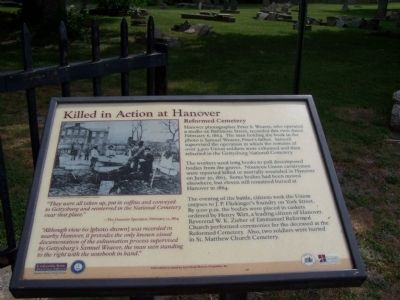 Killed in Action at Hanover Marker image. Click for full size.
