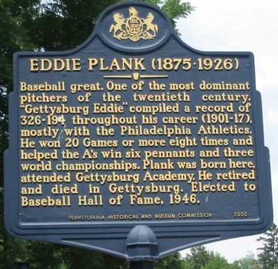 Eddie Plank (1875-1926) Marker image. Click for full size.