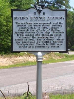 Boiling Springs Academy Marker </b>[reverse] image. Click for full size.
