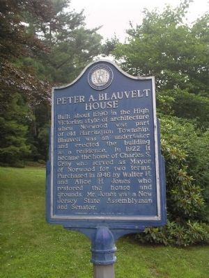 Peter A. Blauvelt House Marker image. Click for full size.