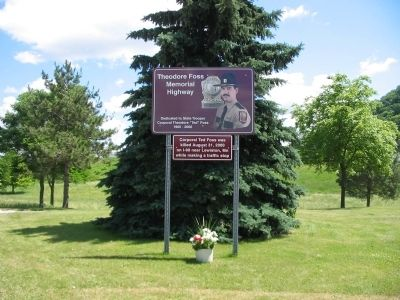 Theodore Foss Memorial Highway Marker image. Click for full size.