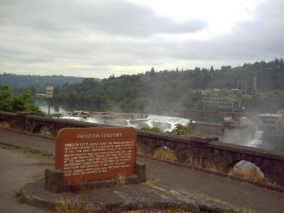 Oregon City Marker and Willamette Falls image. Click for full size.