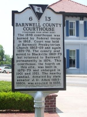 Barnwell County Courthouse Marker </b>(reverse) image. Click for full size.