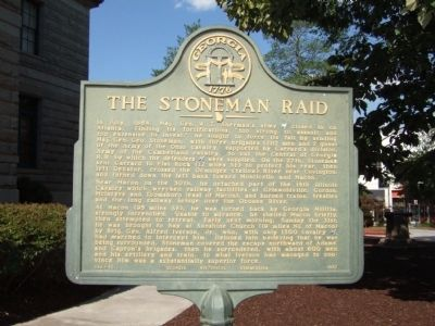 The Stoneman Raid Marker located on the square in Decatur image. Click for full size.