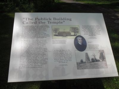 """The Publick Building Called the Temple"" Marker image. Click for full size."