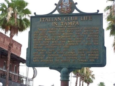 Italian Club Life In Tampa Marker image. Click for full size.