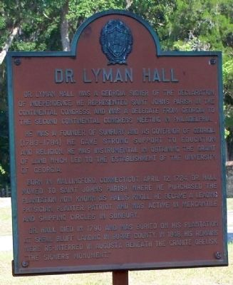 Dr. Lyman Hall Marker image. Click for full size.