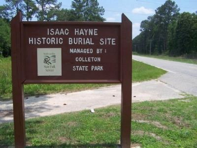 Issac Hayne Historic Burial Site Marker image. Click for full size.