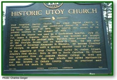 Historic Utoy Church Marker image. Click for full size.