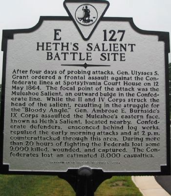 Heth's Salient Battle Site Marker image. Click for full size.