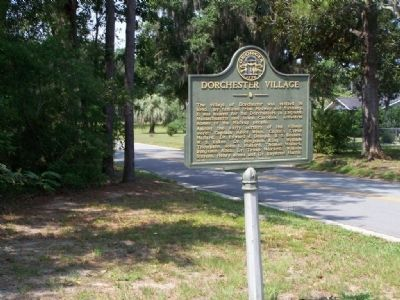 Dorchester Village Marker looking South on  Brigdon Rd, at Colonels Island Rd image. Click for full size.