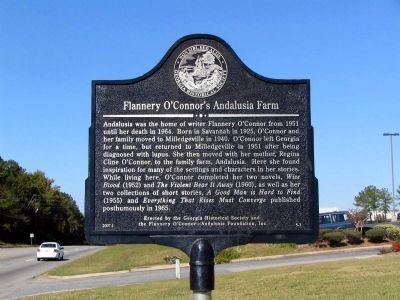 Flannery O'Connor's Andalusia Farm Marker image. Click for full size.