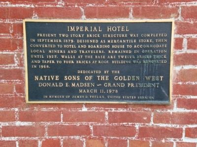 Imperial Hotel Marker image. Click for full size.