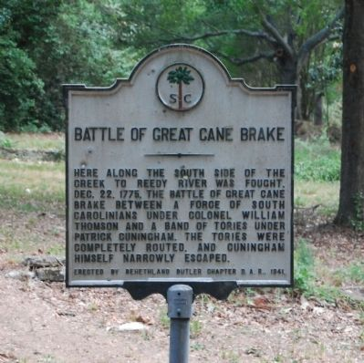 Battle of Great Cane Brake Marker -<br>Original Location on South Harrison Bridge Road image. Click for full size.