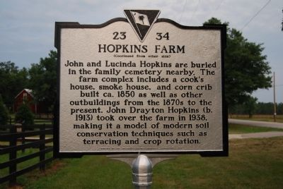 Hopkins Farm Marker - Reverse image. Click for full size.
