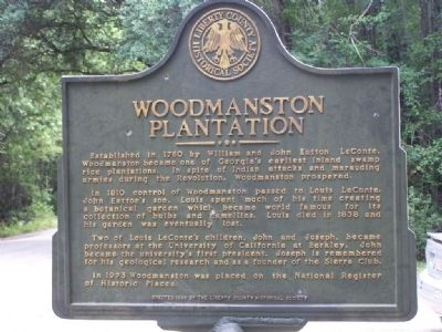 Woodmanston Plantation Marker, close-up image. Click for full size.