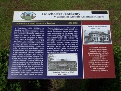 Dorchester Academy Marker, We want a school, we need a Teacher 1870-1872 image. Click for full size.
