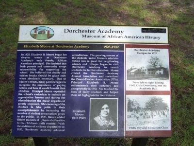 Elizabeth Moore at Dorchester Academy 1925-1932 marker image. Click for full size.