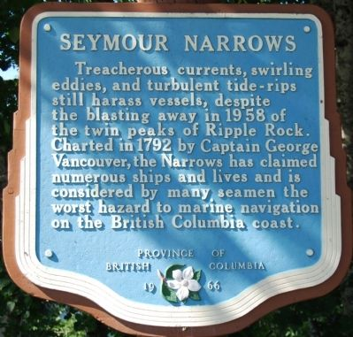 Seymour Narrows Marker image. Click for full size.