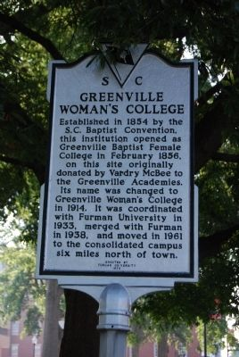 Greenville Woman's College Marker image. Click for full size.
