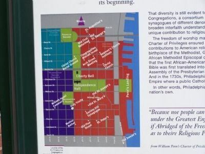 Map of Old Philadelphia Congregations displayed on marker. image. Click for full size.