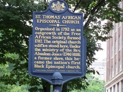 St. Thomas' African Episcopal Church Marker image. Click for full size.