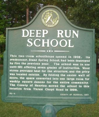 Deep Run School Marker image. Click for full size.