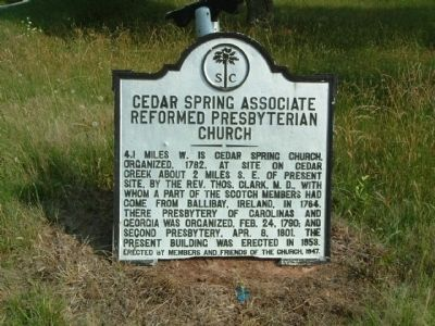Original Cedar Springs A.R.P. Church Marker image. Click for full size.